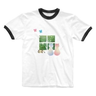 ねこと蝶 Ringer T-shirts