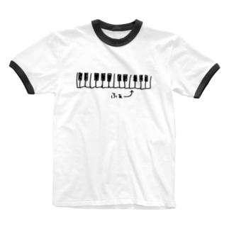 かぶの「ふぁ」(黒) Ringer T-shirts