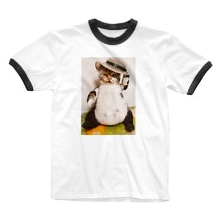 ねこのおっちゃん・ごきげんよう Ringer T-shirts