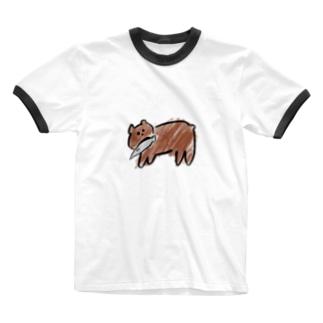 木彫りじゃないクマ Ringer T-shirts