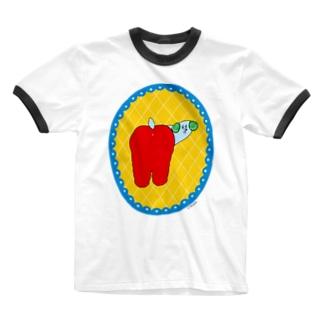 ふりむきわんちゃん Ringer T-shirts