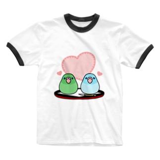 まめ大福マメルリハ【まめるりはことり】 Ringer T-shirts