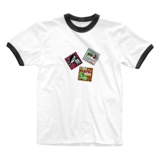 駄コラ三点盛り Ringer T-shirts