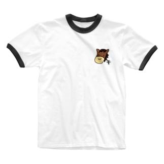 午 うま Ringer T-shirts