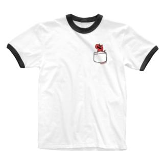 恐竜グランプリ@ポケット_カルノタウルス Ringer T-shirts