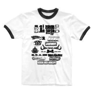 一人でいさせろロックフェスT(黒い文字) Ringer T-shirts