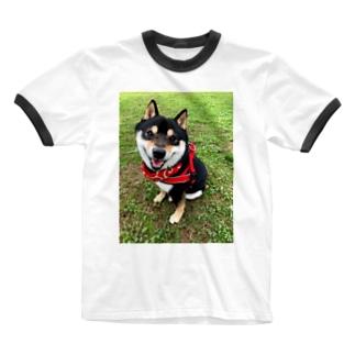 おすわり黒柴 Ringer T-shirts