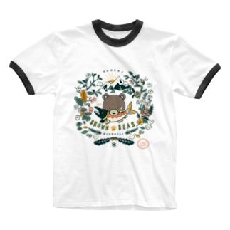 (薄色用)捕食クマ 顔アップバージョン Ringer T-shirts