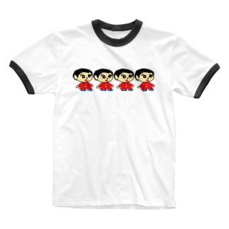 たね子 Ringer T-shirts