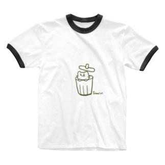 さみしい猫(緑) Ringer T-shirts