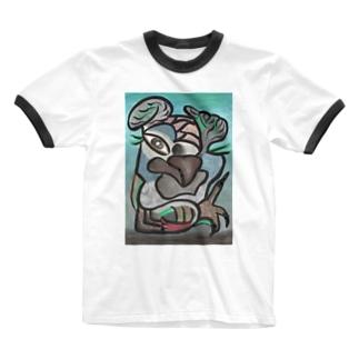 ヨウムモデル Ringer T-shirts