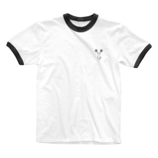 チア Cジャンプ モノクロ Ringer T-shirts