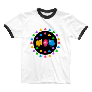 ネコシルエット フンバルンバ隊 Ringer T-shirts