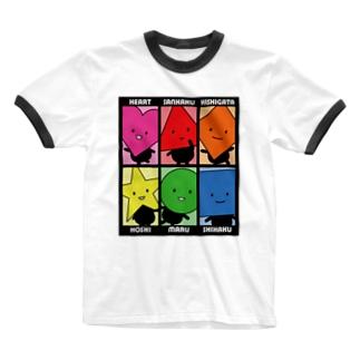 いろんなかたちさん黒 Ringer T-shirts