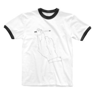 タバコ Ringer T-shirts