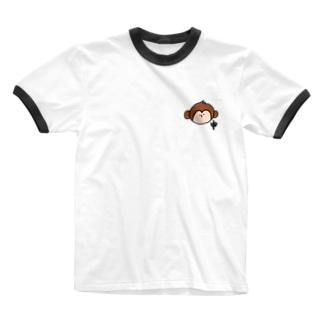 申 さる Ringer T-shirts