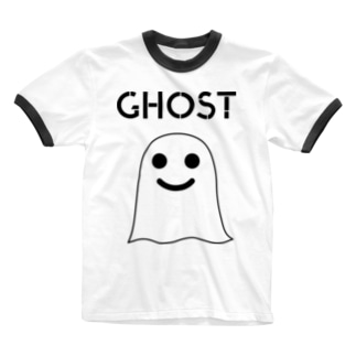 GHOST IN THE SHEET (Black Line) Ringer T-shirts