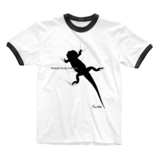 へばりつきトカゲ Ringer T-shirts
