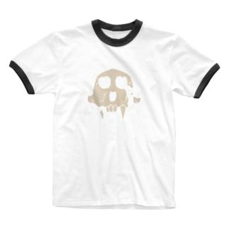 頭骨シルエット風/砂色 Ringer T-shirts