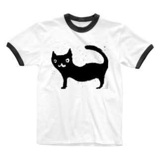黒い猫 Ringer T-shirts