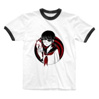 朝神さつきちゃんグッズ Ringer T-shirts