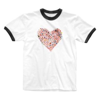 ....ハート.... Ringer T-shirts