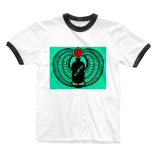 古代エジプト・有翼スカラベ Ringer T-shirts