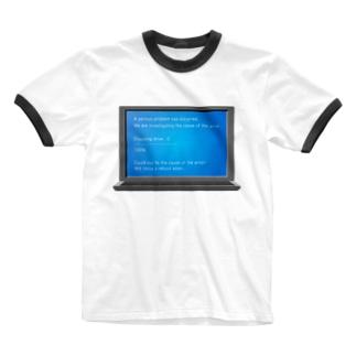 illust_designs_labの 架空のブルースクリーンエラー画面のイラスト Ringer T-shirts