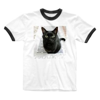 黒猫む〜広報部長 Ringer T-shirts