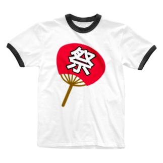 祭の団扇 Ringer T-shirts