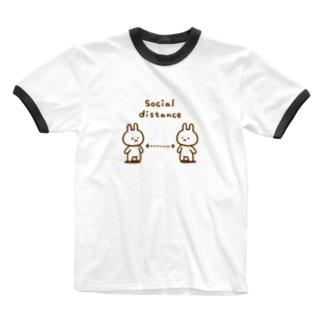 ソーシャルディスタンス ごったにうさぎ Ringer T-shirts
