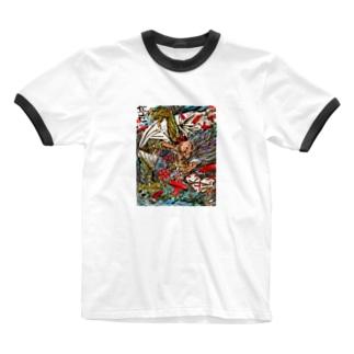 ふくふく商店のガゴゼ(元興寺の鬼退治) Ringer T-shirts