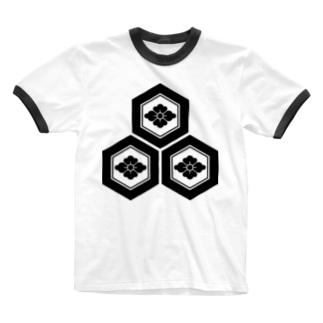 三つ盛り亀甲に花菱紋(浅井長政)黒 Ringer T-shirts