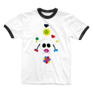 KAERUCAFE SHOPの生前は女子 Ringer T-shirts