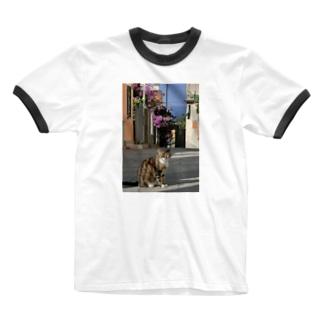 イタリアの空と猫 Ringer T-shirts