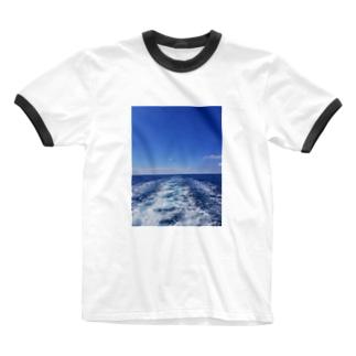 イタリアの空と海 Ringer T-shirts