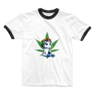 AKAGANEのユニコ君のリラックス Ringer T-shirts