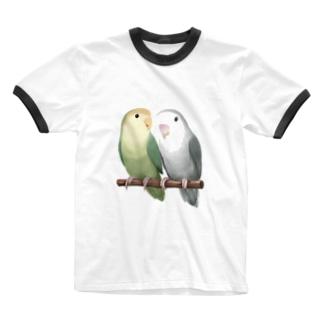 まめるりはことりのコザクラインコ モーブとオリーブ【まめるりはことり】 Ringer T-shirts