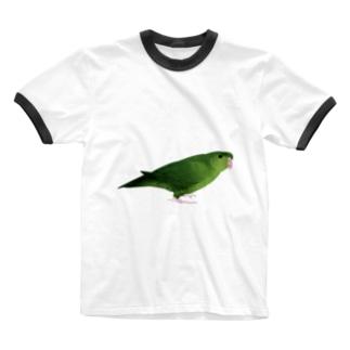 まめるりはことりのサザナミインコ グリーン【まめるりはことり】 Ringer T-shirts