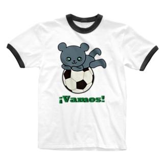 森のどうぶつサッカーshopのボランチのこぐま2(vamos) Ringer T-shirts