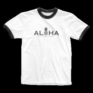aloha_pineapple_hawaiiのアロハ パイナップル 002 Ringer T-shirts
