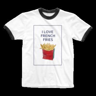 NATSUYA TAKASAKIのI LOVE FRENCH FRIES Ringer T-shirts