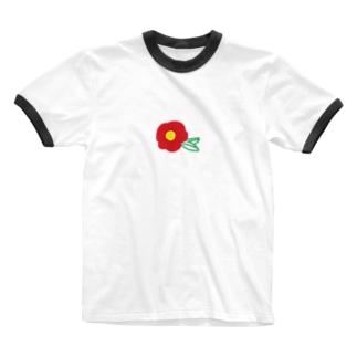 りんのの赤椿 Ringer T-shirts