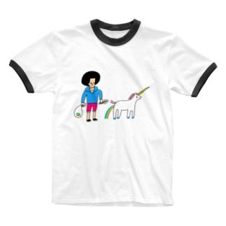 花くまゆうさくのユニコーンと散歩 Ringer T-shirts