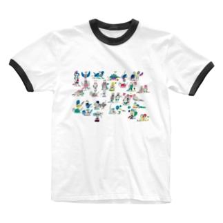 KAERUCAFE SHOPのとり Ringer T-shirts