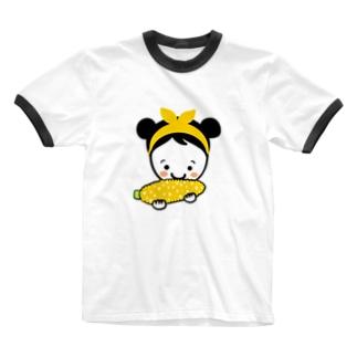 もろこしスマイルちゃん Ringer T-shirts