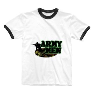ハーフなお店のアーミーメン Ringer T-shirts