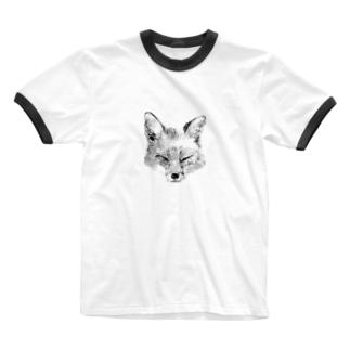 キツネ Ringer T-shirts