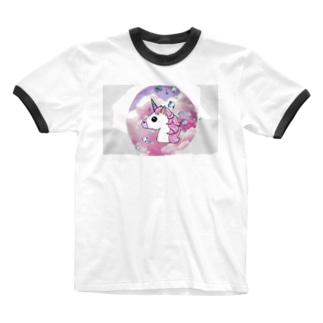 okusennのユニコーン Ringer T-shirts