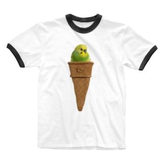 おかゆアイス 左向き Ringer T-shirts